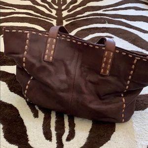 Leather tote Free People dark brown